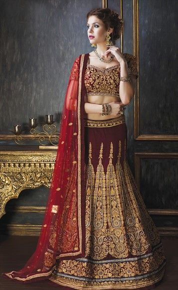 1e8d7a7dfd4ed0 176073 Red and Maroon color family Bridal Lehenga, Wedding Lehnga in Velvet  fabric with Border, Machine Embroidery, Zircon work .