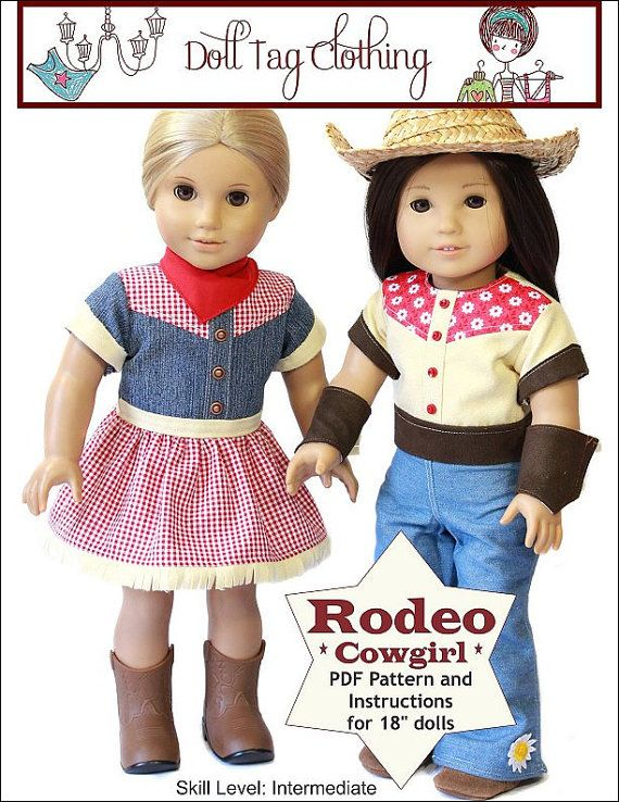 Pixie Faire Doll Tag Clothing Rodeo Cowgirl Doll Clothes Pattern for ...