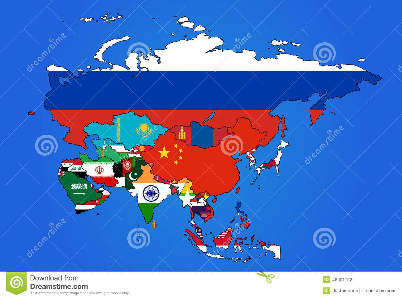 asia flag map all countries colored their flags 48901782jpg 1300968