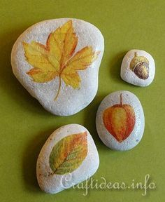 Fall Leaf Stones- Find a paper napkin with fall leaves or other fall motifs and decoupage them onto the stones. It is so easy and the result looks great. Light colored stones are perfect for this project, but you can also paint darker stones white if you like.