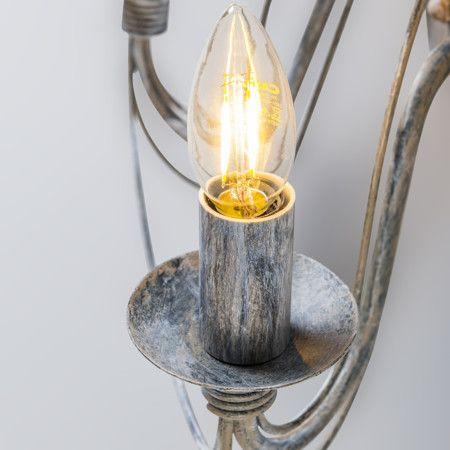 Aplique ZERO BRANCO 2 gris envejecido - Estupenda lámpara de pared con dos brazos de estilo clásico. Muy bonito en combinación con bombillas E14 de tipo vela.
