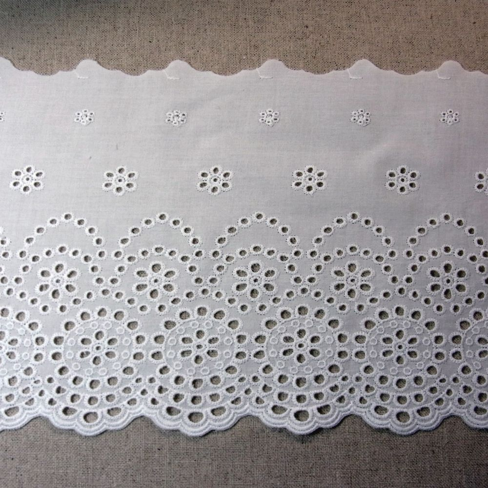 Details about Embroidery Cotton Fabric Eyelet Lace Trim 21cm Flowers White 1 Yard #dollunderware