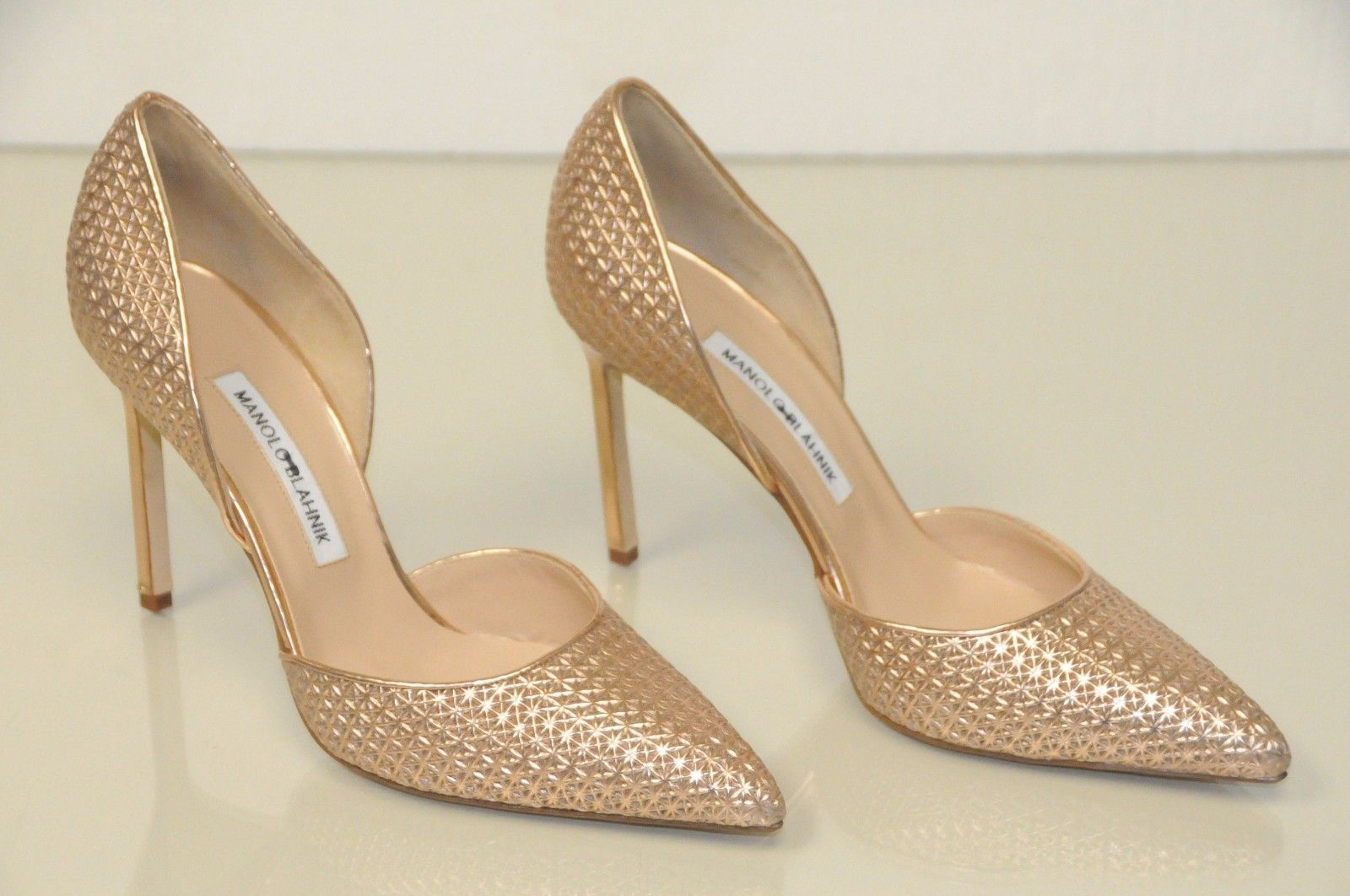 4b6dd127a6c New Manolo Blahnik Tayler Pink Rose Gold Metallic Pump Dorsay Shoes 39.5  40.5