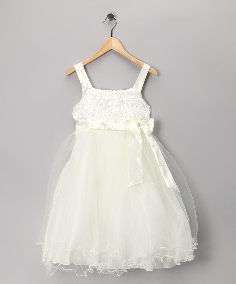 Cream Bow Tulle Dress Toddler & Girls   Flower girl