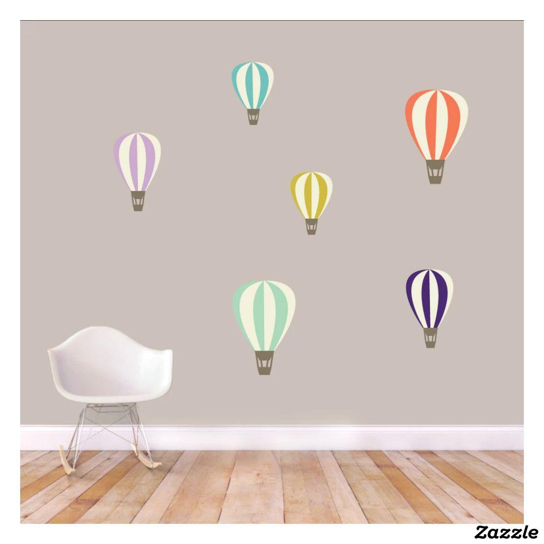 Colorful Hot Air Balloons Printed Wall Decal Set Zazzle Com