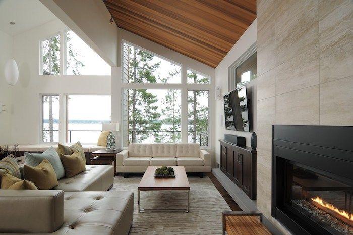 Wohnung Einrichten Ideen Einrichtungsideen Kamin Kaminofen Sofa Groß Großes  Fenster Tisch Ideen Kissen
