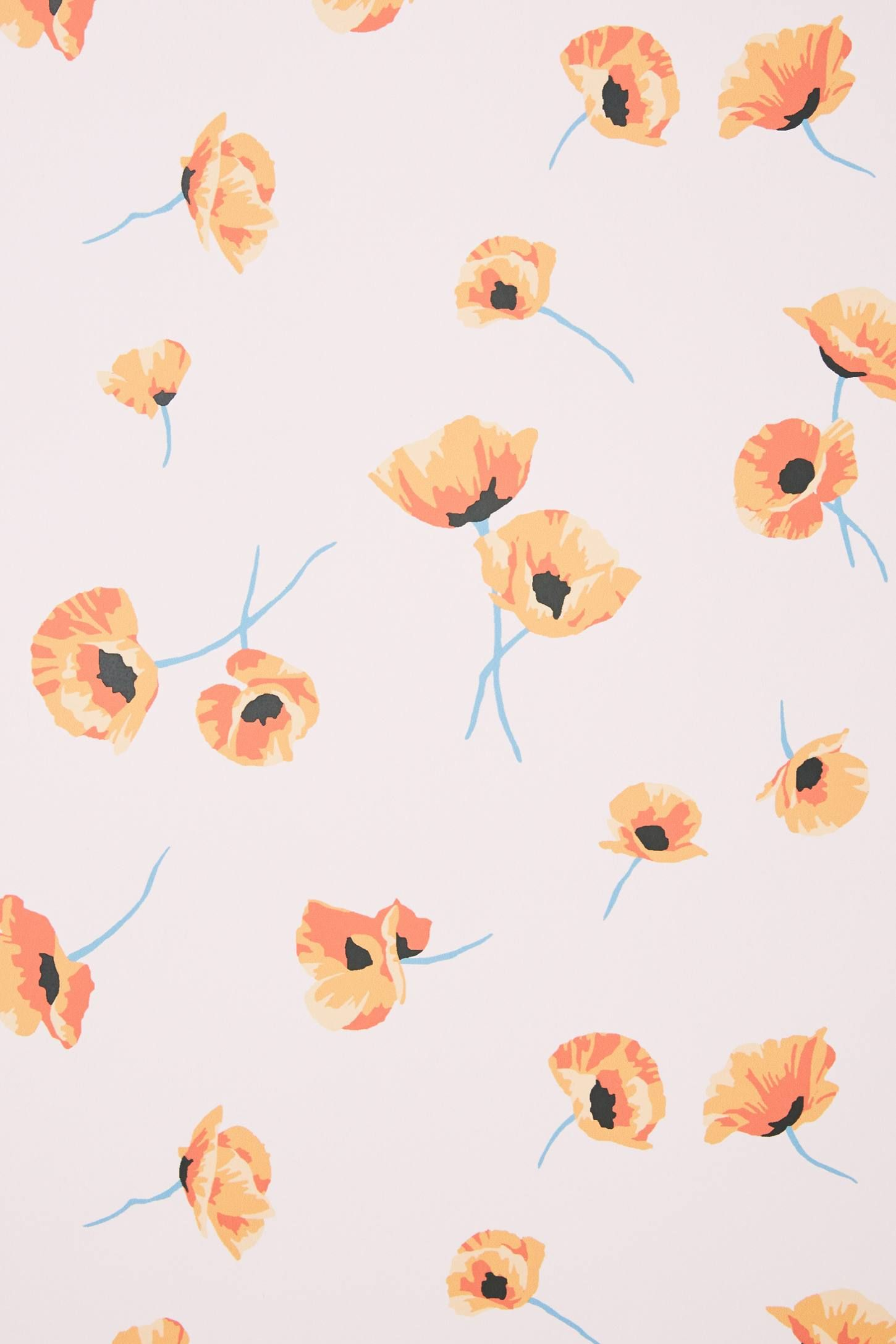 Poppy Wallpaper By Anthropologie In Pink Wall Decor Paper