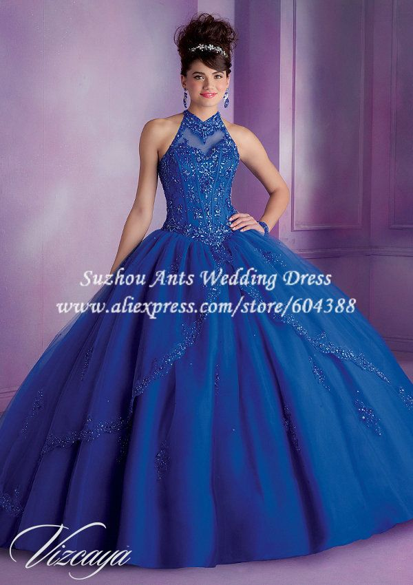 24ba793a2f4 Appliqued Halter Ball Gown Quinceanera Dresses Blue Red Off the Shoulder  vestidos de 15 anos vestido de festa MP091  249.99