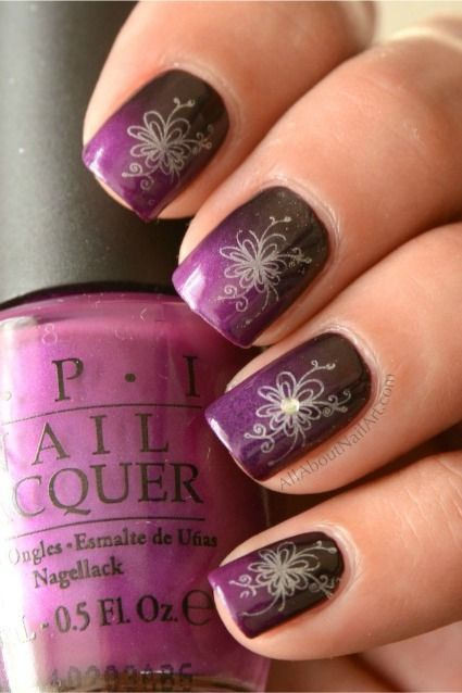 Konad Stamped Nail Art Flower