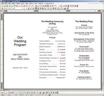 wording for wedding programs