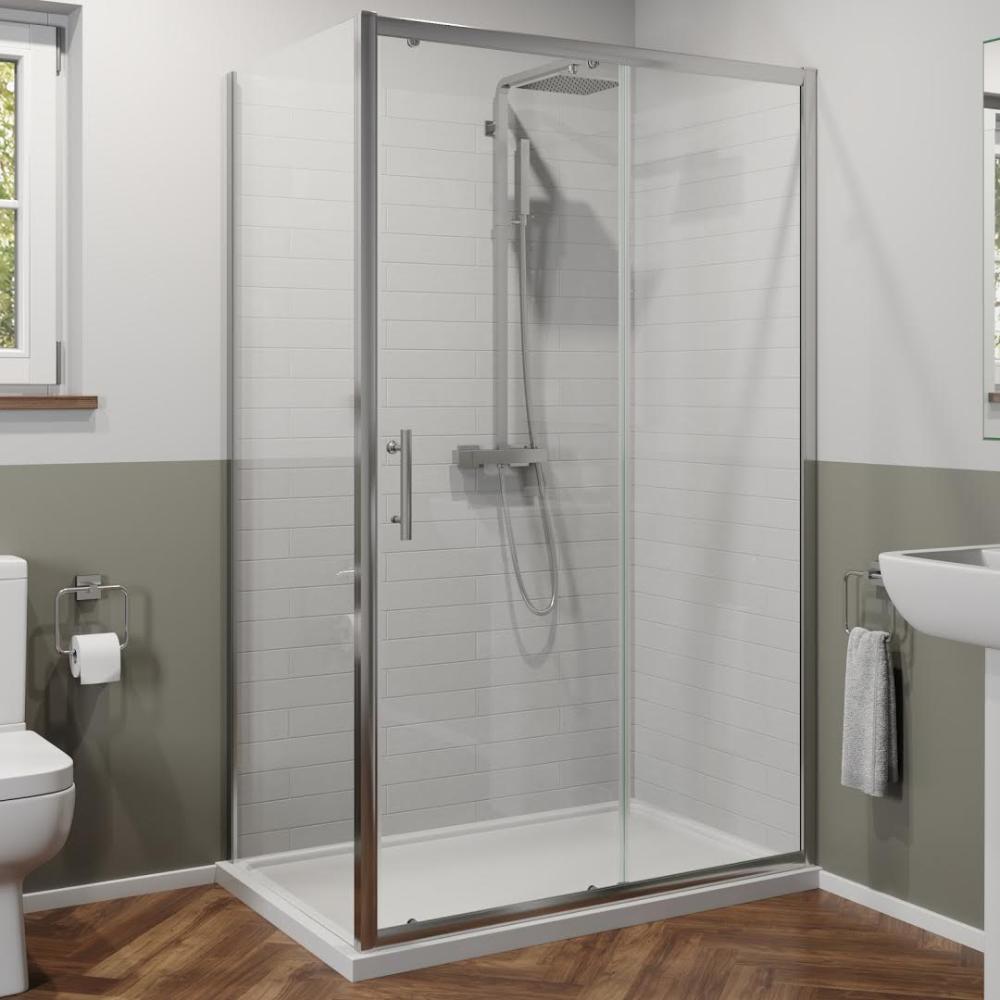 Luxura 1200 X 700mm Sliding Shower Door Side Panel 6mm Glass Slidingshowerdoors Shower Doors Bathroom Design