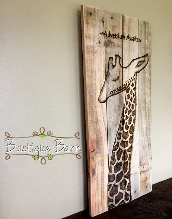 Giraffe Modern Baby Nursery Wall Decor Safari Room Animals Wooden Sign Rustic There Is