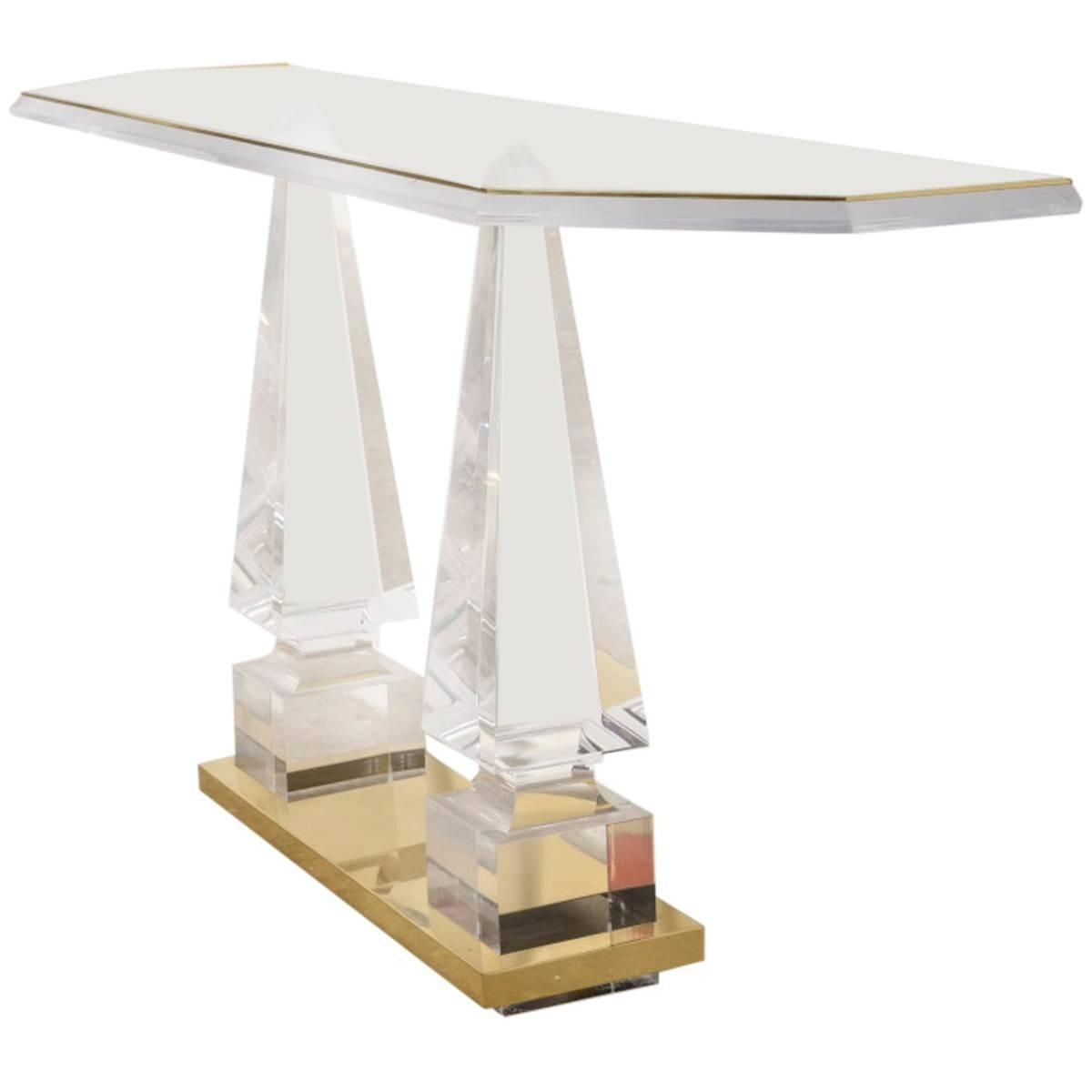 obelisk furniture. Lucite Obelisk Console, Side Table | From A Unique Collection Of Antique And Modern Console Furniture T