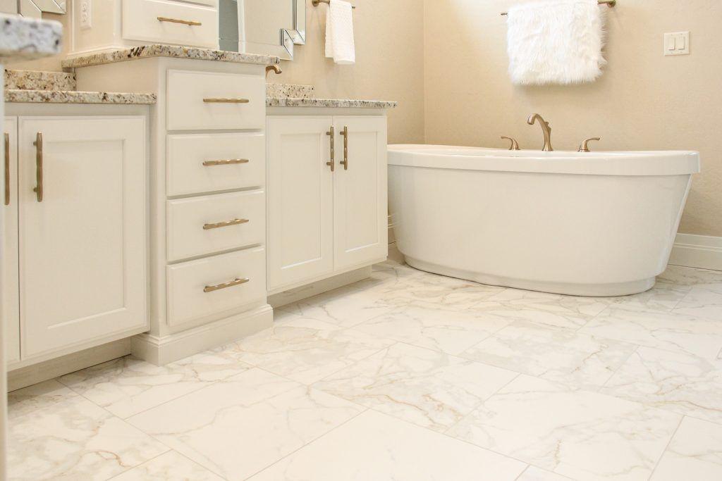 White Marble Tile Bathroom Flooring White Master Bathroom White Marble Tile Bathroom Bathroom Remodel Master