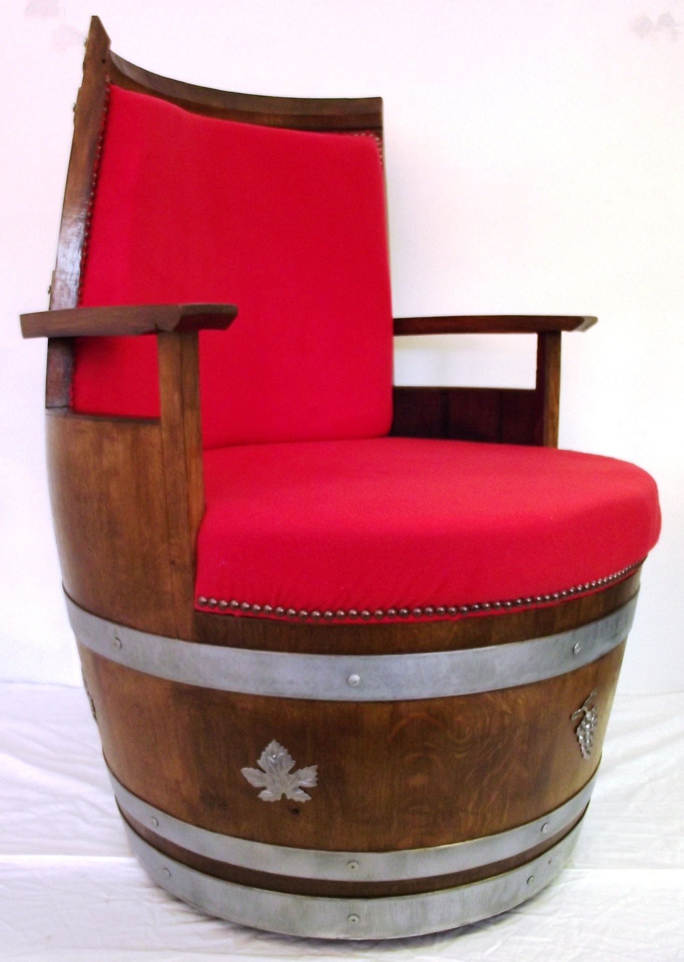 Ordered Barrel Chair X 4 Made Form French White Oak Old Wine Barrels The Upholstery Has Yet To Be Decided Open To Su Barrel Furniture Barrel Chair Barrel
