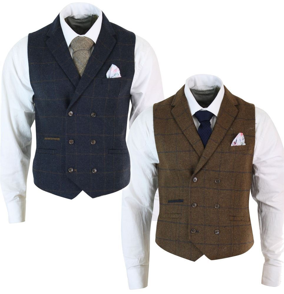 Mens Waistcoat Tweed Check Classic Peaky Blinders Tailored Fit Vintage