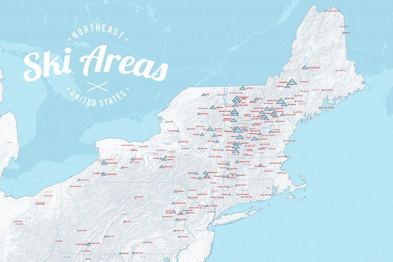 east coast ski resorts map Northeast Ski Resorts Map 24x36 Poster Ski Resort Ski Area Skiing east coast ski resorts map