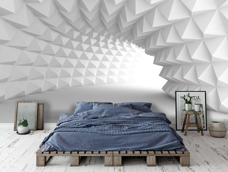 3d White Abstract Geometric Whirl Tunnel Wallpaper Mural Peel Etsy Feature Wall Wallpaper Wall Wallpaper Mural Wallpaper