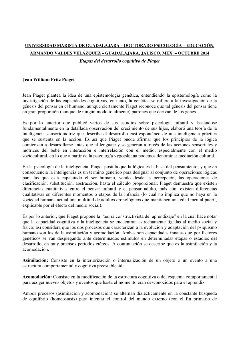 (PDF) Etapas del desarrollo cognitivo de Piaget