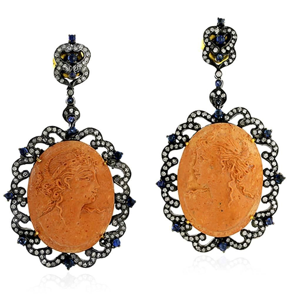 Cameo Blue Sapphire Diamond Earrings | From a unique collection of vintage dangle earrings at https://www.1stdibs.com/jewelry/earrings/dangle-earrings/
