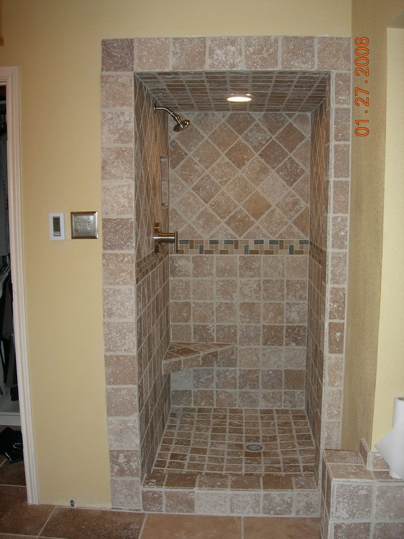 Travertine tile shower tile travertine contractor for Tiled bathroom designs pictures