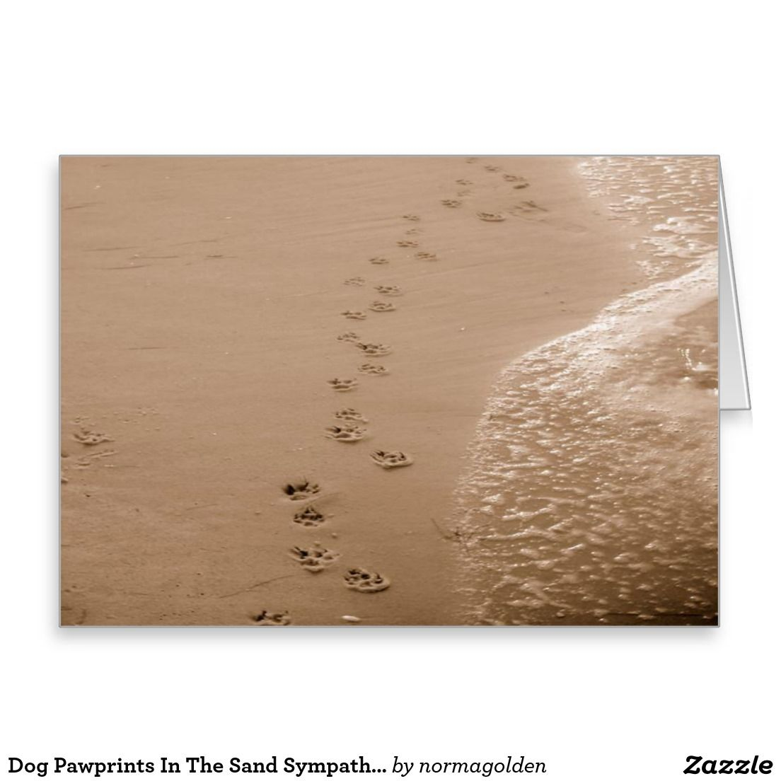Dog pawprints in the sand sympathy card dog