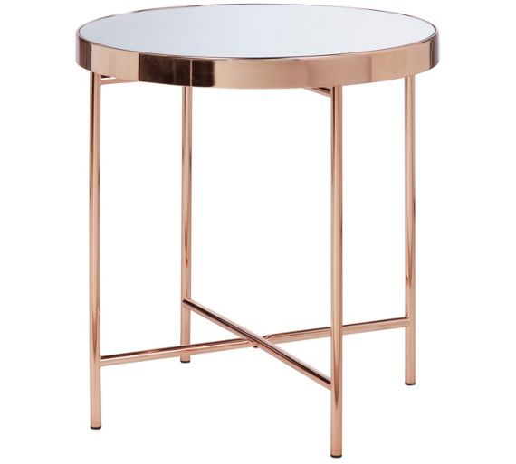 Buy Collection Round Glass Top Side Table Copper Plated At