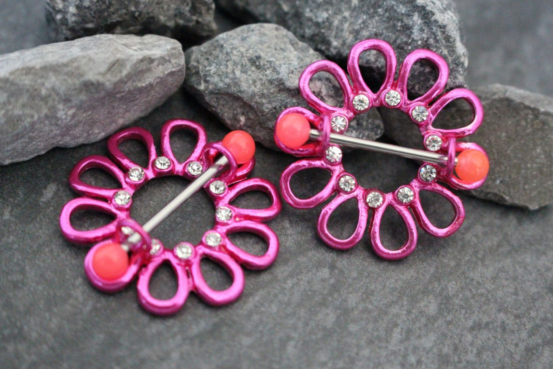 Ear piercing artist  Neon Flower Nipple Ring  Body jewellery Piercings and Crystals