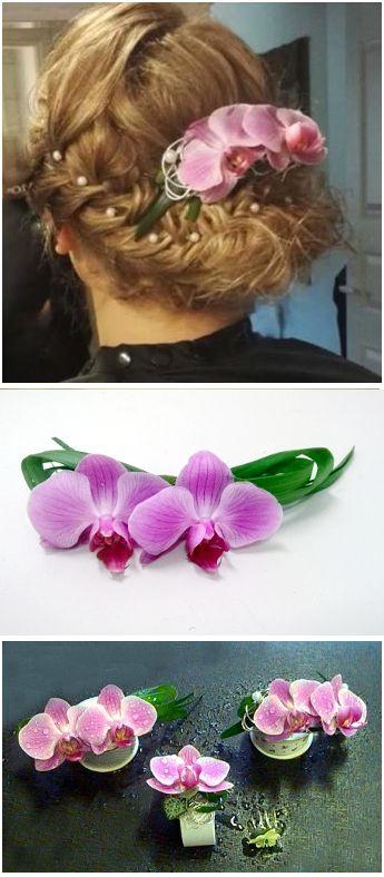 orkideat hiuksiin ja ranteeseen