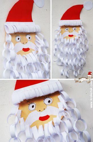 santa beard paper chain craft project for kids - Santa Claus Preschool Crafts