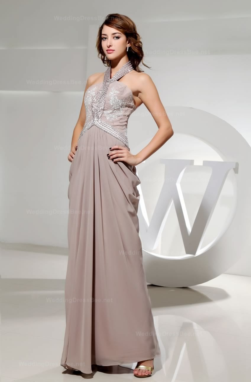 Halter chiffon dress with beads and appliques on top very chic