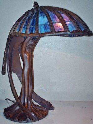 Tiffany Style Art Deco Nouveau Flying Lady Figural Stained Glass Designer Lamp Ebay Deco