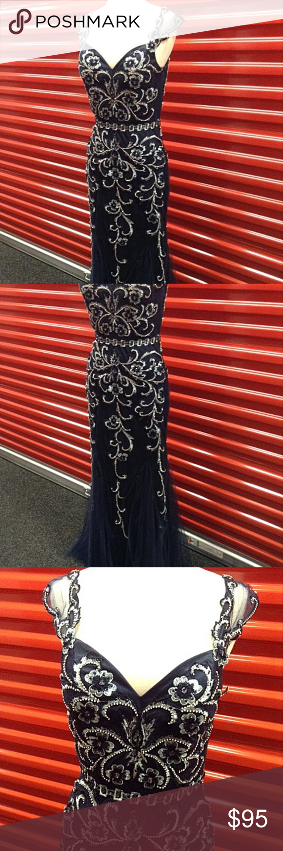 New gown party prom long evening dress navy blue boutique prom