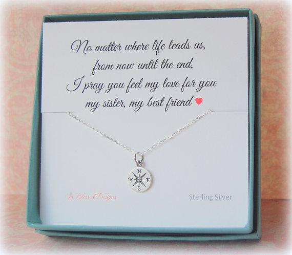 Sister necklace gift Christmas Gifts for Sister Compass necklace