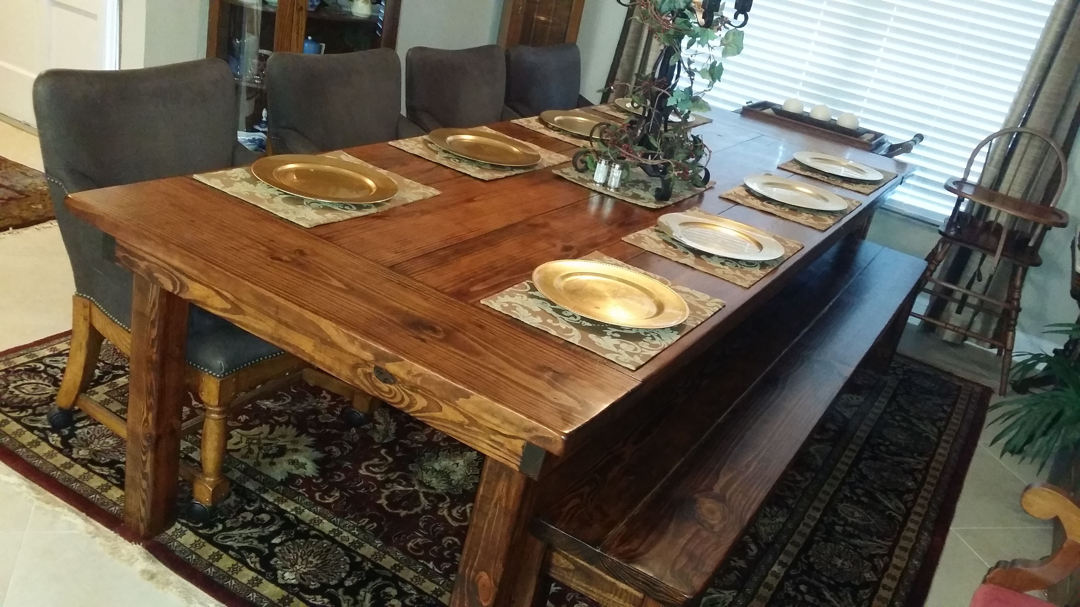 """The Ark"""" 10 foot Farm Table in Honey with a double wide matching"""