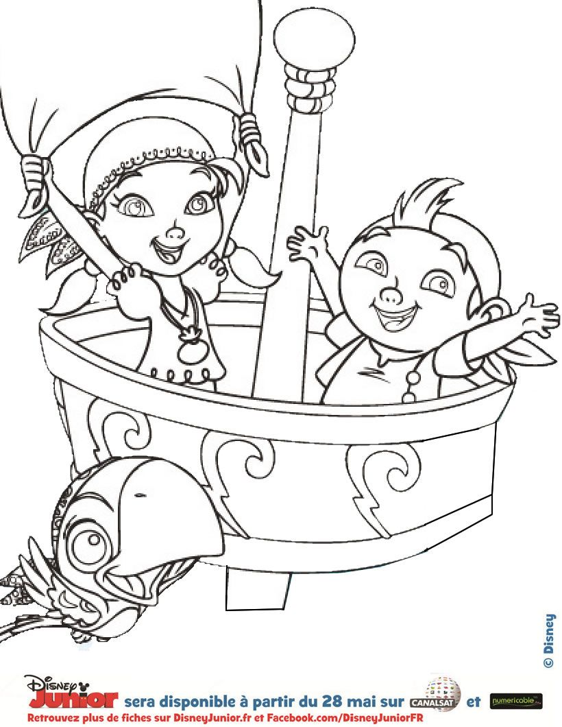 Coloriage disney izzy et de frise jake et les pirates - Dessins pirates ...