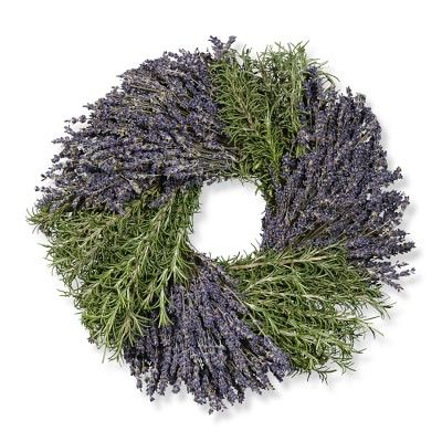 Rosemary & Lavender Wreath #williamssonoma. Kitchen, above green cabniet or where pics use to be