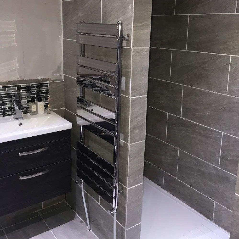 Duratherm Flat Panel Heated Towel Rail Chrome 1200 X 500mm Heated Towel Rail Towel Rail Heated Towel