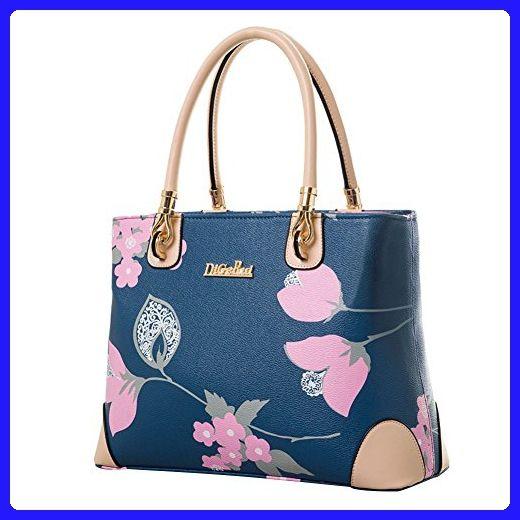 255a864cc8b Vowori Women s Leather Floral Print Handbags Tote Bags Blue - Shoulder bags  ( Amazon Partner-Link)