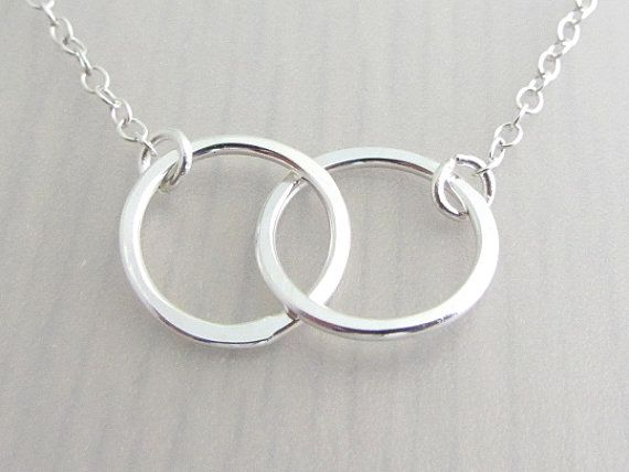 Infinity Link Necklace  Karma Necklace  Double Circle Necklace  Interlocking Circles Necklace  Mother Daughter Necklace