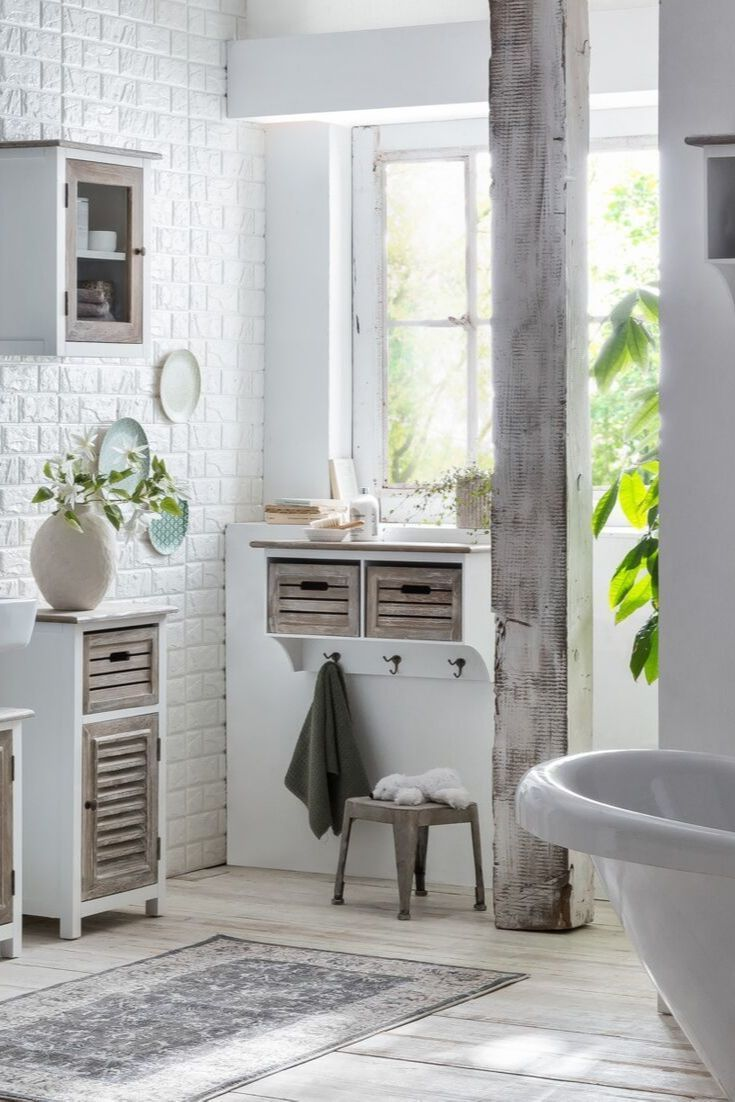 Schrank Idee Weiss Holz Schmal Stauraum Badezimmer