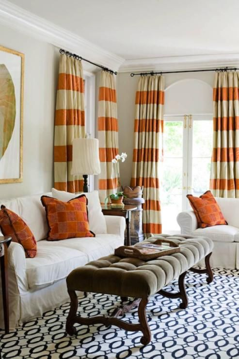Tan Walls Paint Color Orange Stripe Silk Curtains Window Panels White Slip Cover Sofas Greek Key Pillows Black Rug Gold Leaf Frame