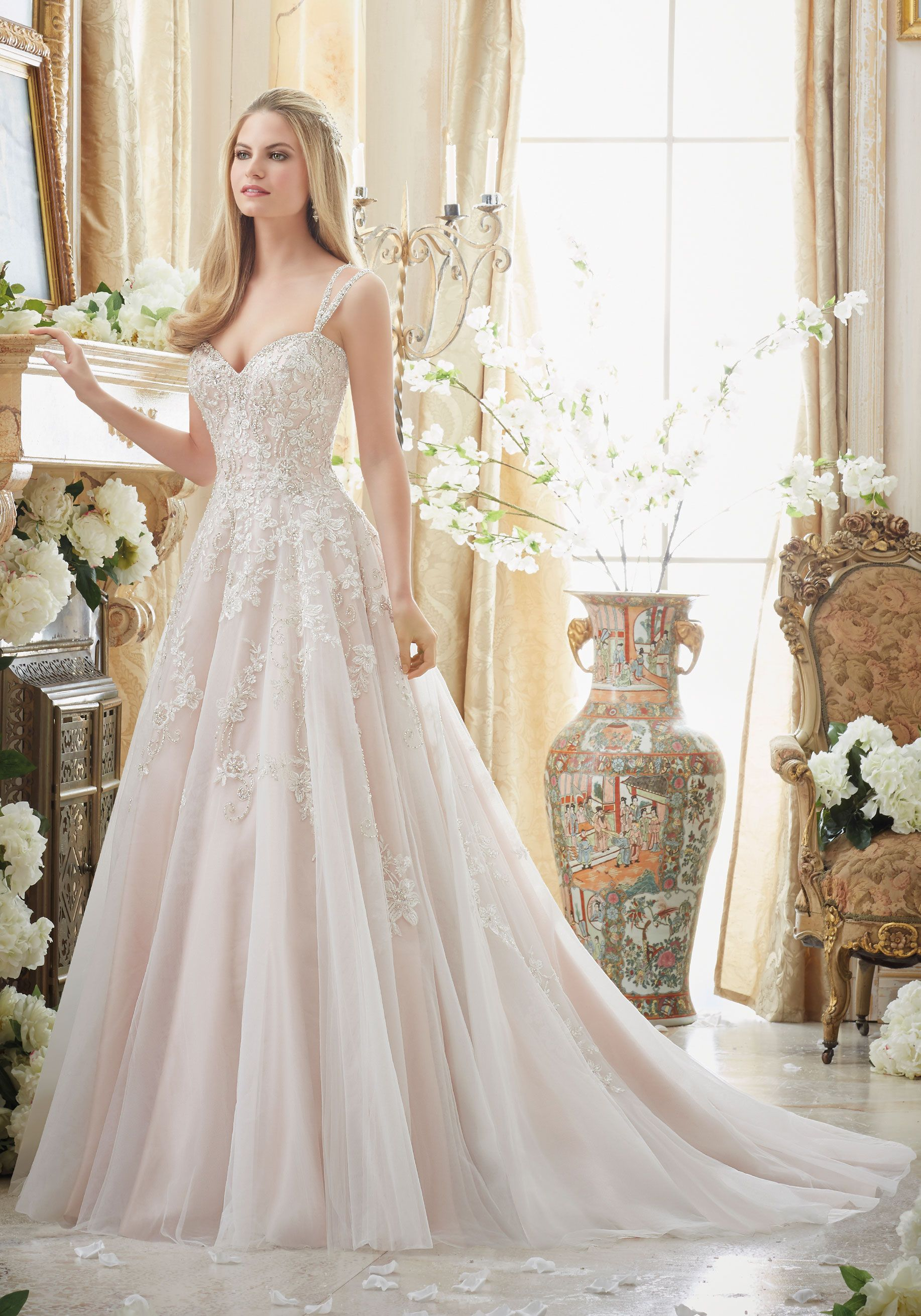 Elaborately beaded embroidery on soft tulle ball gown for Silver beaded wedding dress