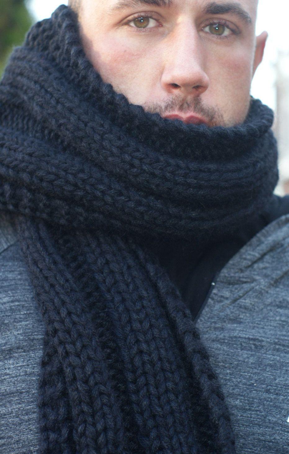 Men Scarf Black Chunky Knit Scarf Italian Acrylic Black