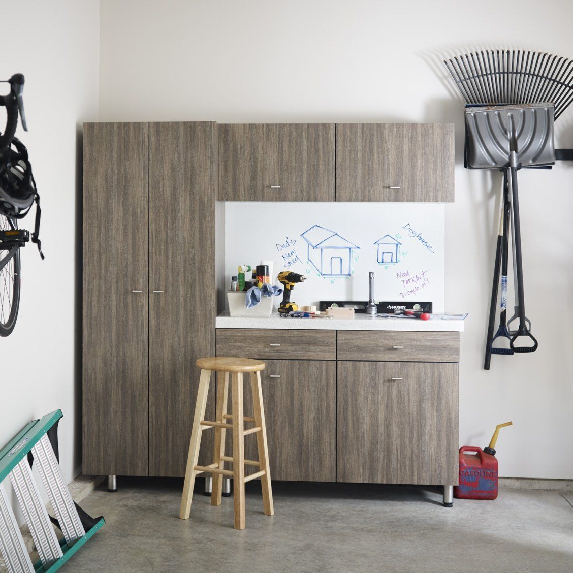 Use Formica® Laminate To Create A Custom Workbench In Your Garage Pictured:  Cabinets   Formica® Laminate 8915 Walnut Fiberwood Backsplash   Formica® ...