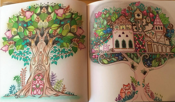 Tree And Tree House Enchanted Forest Enchanted Forest Coloring Book Enchanted Forest Coloring Enchanted Forest