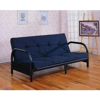 This Satin Black Futon Frame With Round Tubing Has An Extra Wide 38 Armrest It Is A Wonderful Addition To Any Room Adding Multi Functionality And Style