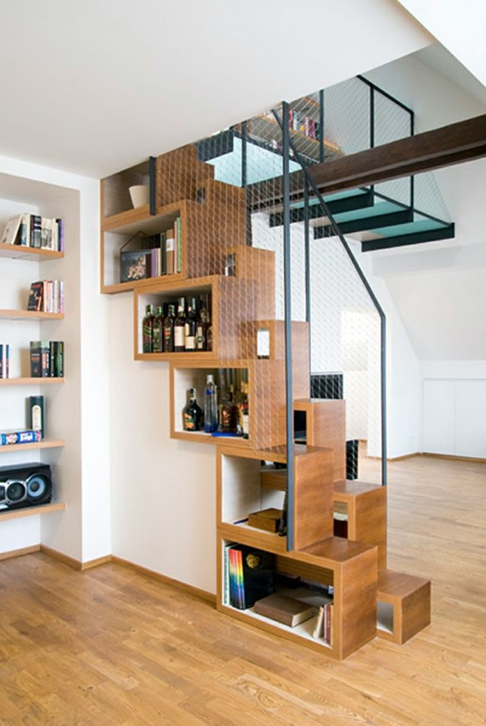 treppenhaus gestalten offene schränke stauraum kreative wohnideen - unter 100 wohnideen