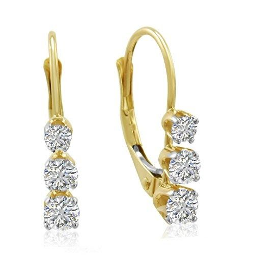 Certified Yellow Gold Three-Stone Diamond  Earrings 1/2cttw