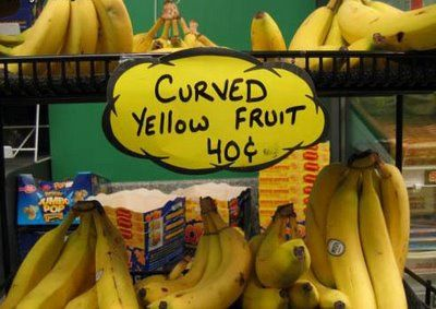 Curved yellow fruit.